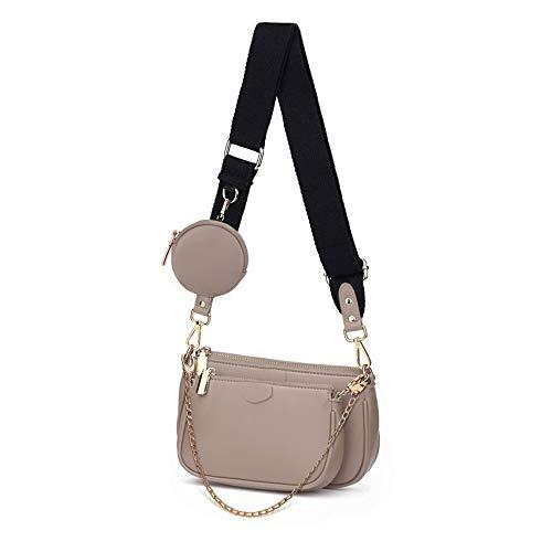SUVIA Mehrzweck Umhängetasche Damen Crossbody-Taschen Multi-Tasche 3-Teilig Geldbörse Reißverschluss Mode Handtaschen mit Münzbeutel (Khaki)