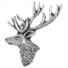 Gift Box Pewter Stag Head Pin Badge or Brooch Gift for Scarf, Tie, Hat, Coat or Bag