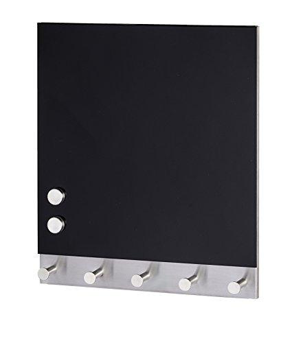 Wenko 50405100 Hakenleiste Black - 5 Haken, magnetisch, Gehärtetes Glas, 34 x 30 cm, schwarz