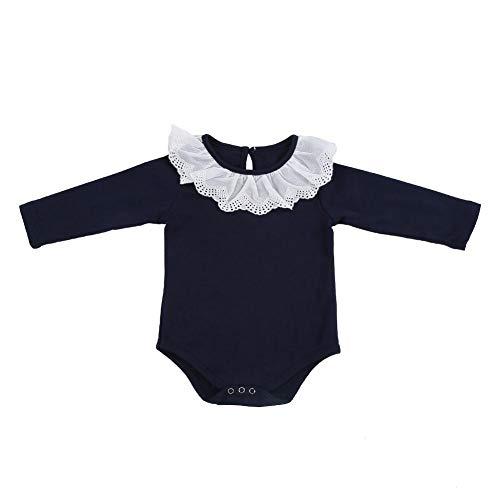 Baby Meisje Lange Mouw Bodysuit Kant Kraag Katoen Baby Romper Jumpsuit Pasgeboren Outfits Kleding voor Baby Peuter 0-24 Maanden 80 marineblauw