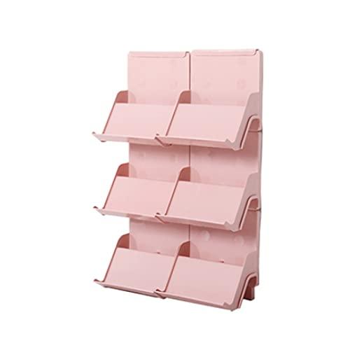 QIFFIY El zapatero se puede apilar en varias capas de plástico para el hogar, bandeja de almacenamiento para zapatos para organizar el armario (color: rosa, tamaño: 6 unidades)