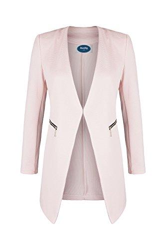 4tuality AO Long Blazer kragenlos mit Zipper rosa Gr. XL