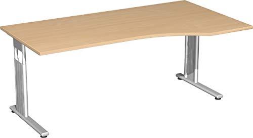 Gera Möbel S-617305-BU/SI PC-Schreibtisch rechts Lissabon, 180 x 100 x 68-82 cm, buche/Silber