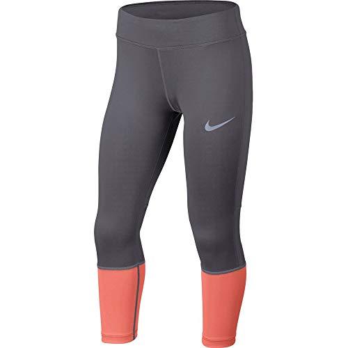 Nike Mädchen Power Crop Tights, Gunsmoke/Lt Atomic Pink, M