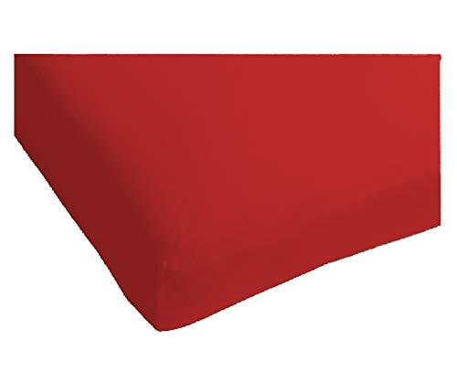 Heckett Lane Perkal Uni Hoeslaken Topper 160x200+12 cm - Aurora Red