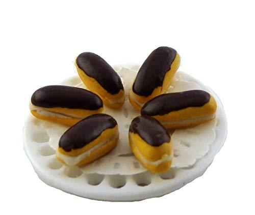 Melody Jane Casa Muecas Chocolate Eclaires en Disfraz Placa Accesorio Miniatura Comida Hecho a Mano