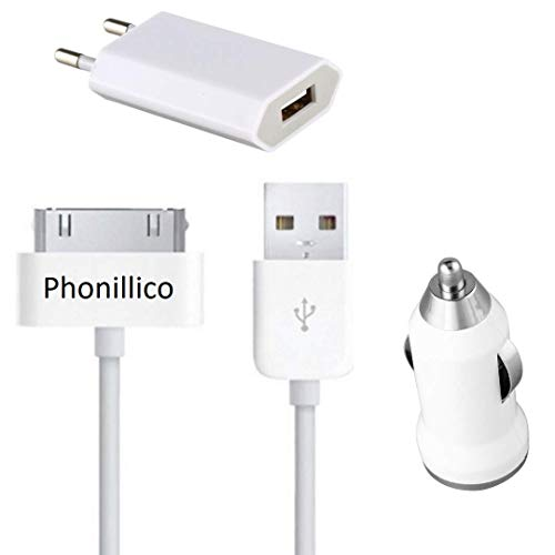Phonillico USB-kabel + autolader wit + oplader, compatibel met iPhone 4/4S, 3G/3GS, 1 m, oplader, wandstekker, autolader