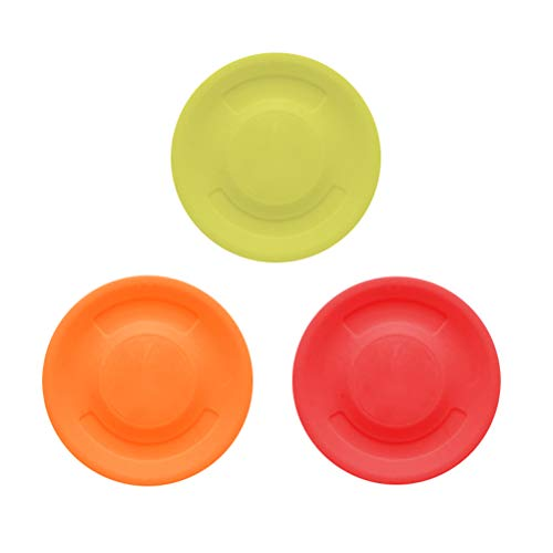 JUHONNZ Mini Frisbee,3 PCS Frisbees Profesional Freesbee Juego de Captura Silicona Disco Volador para Adultos Niños Perro Mascota Amarillo Rojo Naranja