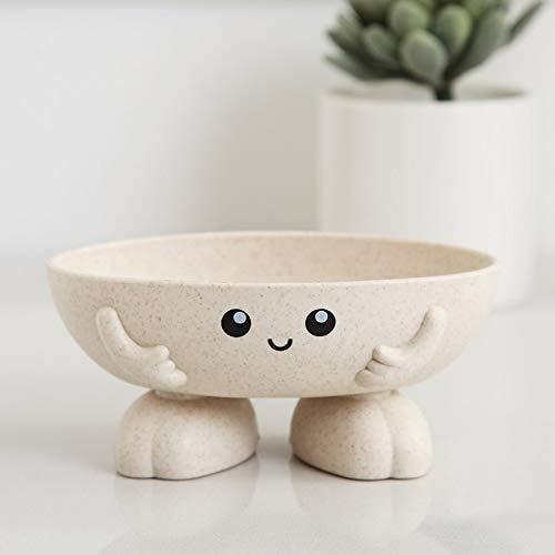 epoxios Jabonera ecológica de fibras vegetales, bonito soporte para niños, jabonera de drenaje para baño, cocina (beige)