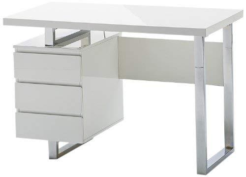 Robas Lund Schreibtisch weiß Hochglanz, Computertisch mit Schubladen, BxHxT 115 x 76x60 cm