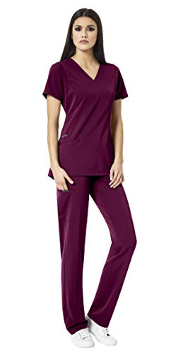 WonderWink HP Women's Medical Uniforms Scrub Set Bundle- 6312 Axis Mock Wrap Scrub Top & 5112 Hybrid Pull On Scrub Pants & MS Badge Reel (Wine - Medium/Medium)