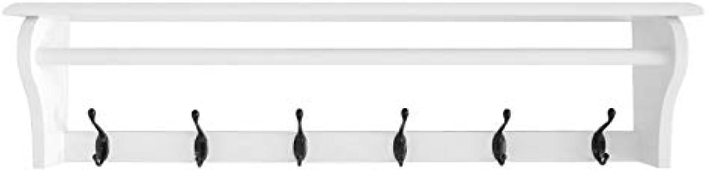 JIAYING Coat Racks Coat Rack Wooden Wall Mounted Hat and Coat Rack Shelf with 6 Metal Hooks, Simple Entryway Hallway Storage Display Stand Multifunction (color   A)