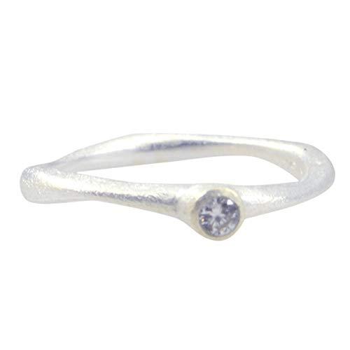 joyas plata bonita piedra preciosa forma redonda una piedra anillo de cuarzo de cristal facetado - anillo de cuarzo de cristal blanco de plata maciza - nacimiento de abril aries
