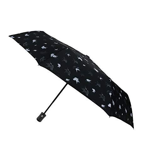 SMATI Kleiner Taschenschirm - kompakte - Sturmsicherer Regenschirm Winddicht (Blaue Vögel)