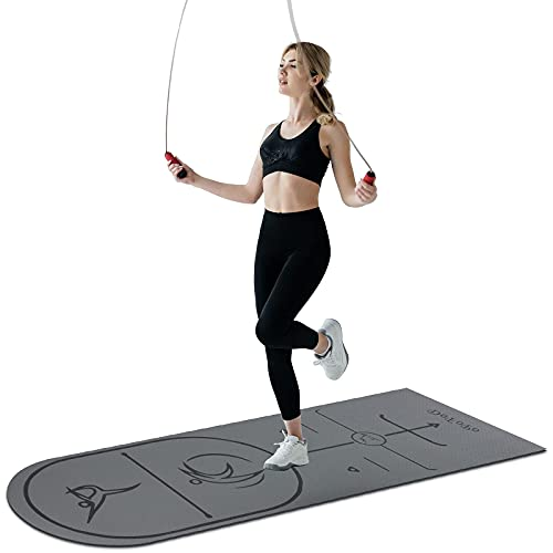 Jump Rope Mat 8mm, dofopo Jumping Rope Mat 70.8 x 23.6in Non-Slip for Knees Protection, Adds Jump Ropes Longevity Portable Workout Exercise Mat