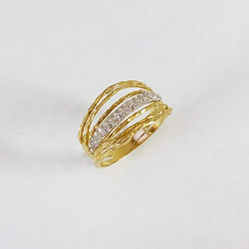 14 carat solid yellow gold wire wrapping ring with paved diamond accent hand made organic style