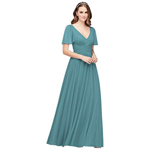 David's Bridal Flutter Sleeve Crisscross Mesh Bridesmaid Dress Style F19933, Teal Blue, 2
