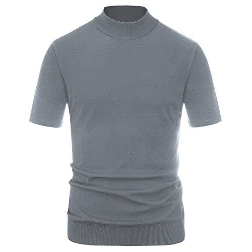 PJ PAUL JONES Short Sleeve Pullover Sweater Men Turtleneck Slim Fit Knitted Shirt Gray 2XL