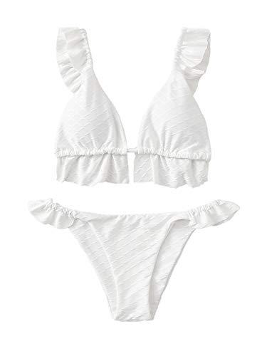 SOLY HUX Damen Bikini Sets Bademode Sexy Triangel Badeanzug mit Raffung Weiß M
