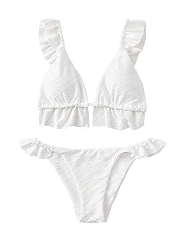 SOLY HUX Bikini para mujer con diseño de triángulo Blanco M