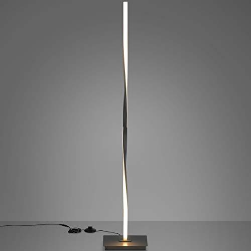 DREAMADE LED Stehlampe warmweiß, Moderne LED-Stehleuchte 20W/ 3000K, Standleuchte mit Metallbasis und Fußschalter, Standlampe Deckenfluter fürs Wohnzimmer, Schlafzimmer (Silber)