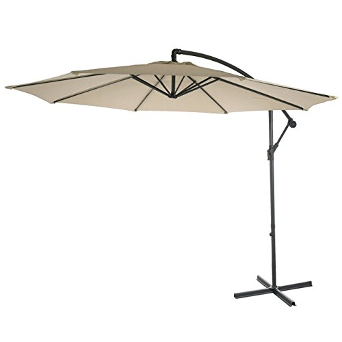 Mendler Ampelschirm Acerra, Sonnenschirm Sonnenschutz, Ø 3m neigbar, Polyester/Stahl 11kg - Creme ohne Ständer