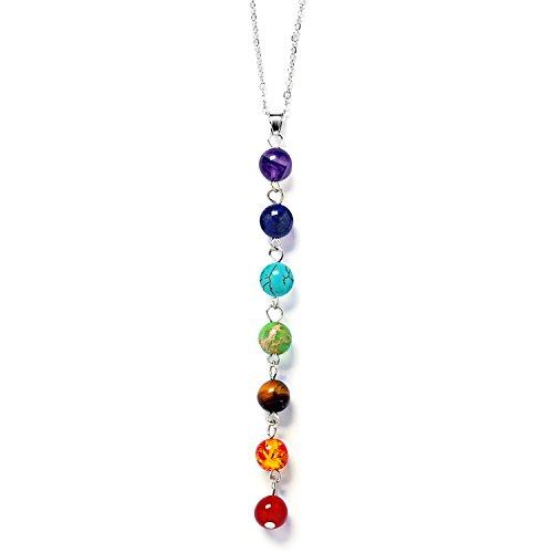 Gosear 7 Chakra Pietre dure Yoga Reiki Preghiera Collana Guarigione Energia Equilibrio Gioielli con Multi Colore Perlina A sospensione