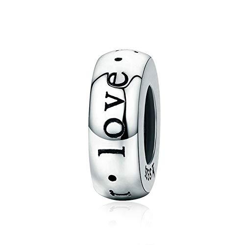 GaLon Encanta granos, S925 plata Will Always Love You romántico silicona espaciador de los granos DIY de los granos pendientes de joyería accesorios compatibles con Pandora y pulseras europeas Collare