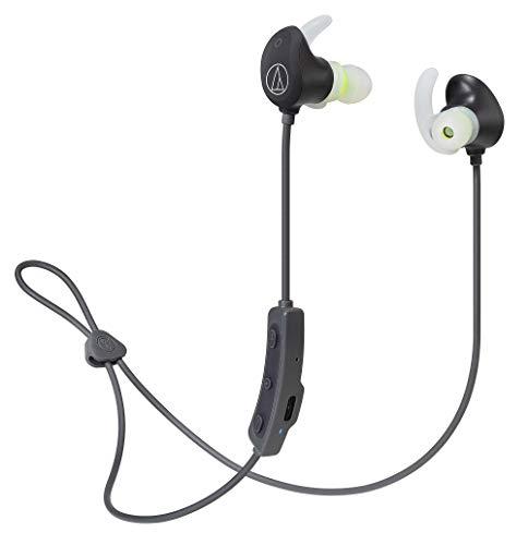 audio-technica SONICSPORT ワイヤレスイヤホン 防水/スポーツ向け Bluetooth リモコン/マイク付 ブラック ...