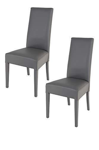 Tommychairs sillas de Elegancia y Design - Set de 2 Sillas Luisa para Cocina, Comedor, Bar y Restaurante con Estructura en Madera de Haya y Asiento tapizado en Polipiel Gris Oscuro