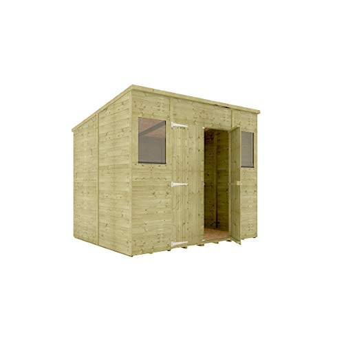 8 x 6 Pressure Treated Hobbyist Pent Shed Tongue & Groove Shiplap Cladding Construction Central Door OSB Floor Wooden Garden Shed 2.43m x 1.82m