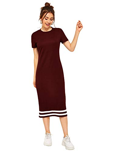 Romwe Women's Casual Striped Short Sleeve Solid Midi T-Shirt Dress Burgundy L
