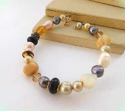 Earth Tone Brown Be super Over item handling ☆ welcome Tan White Amber Gemstone Boho Bead Glass Pearl