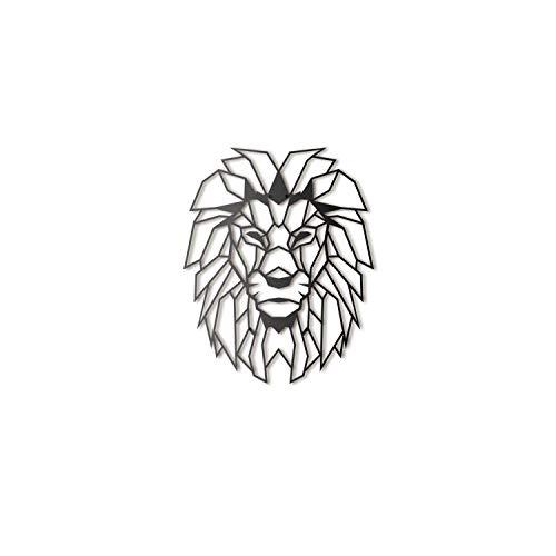 Hoagard - Decoración para pared de metal, 40 x 51 cm, diseño de cabeza de león, color negro, geométrico y minimalista