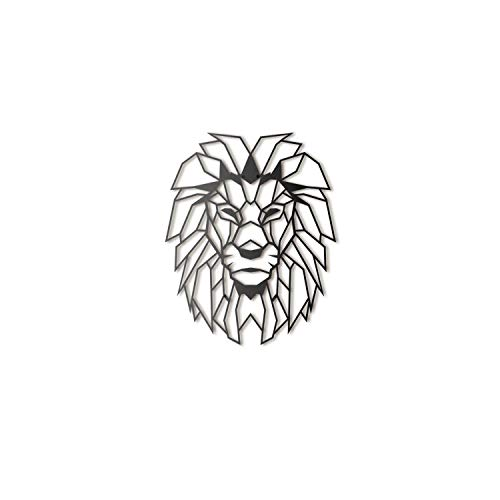 Hoagard Lion Head Geometric Metal Wall Art by Löwenkopf-geometrische Metallwand-Kunst 40cm x 51cm | Geometrische Metallwandkunst & Wanddekoration