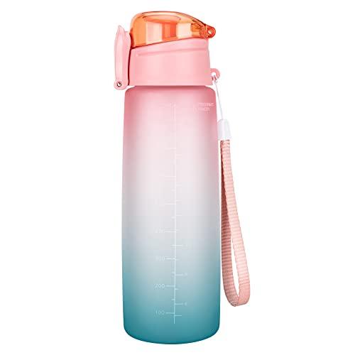 Botella de agua deportiva de 1 L, con marcador de tiempo, antigoteo, sin BPA, color rosa y azul