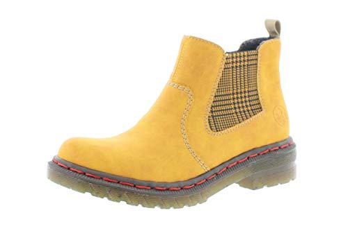 Rieker Damen Stiefeletten, Frauen Chelsea Boots, feminin elegant Women's Woman Freizeit leger Stiefel halbstiefel Bootie,Ocker,40 EU / 6.5 UK