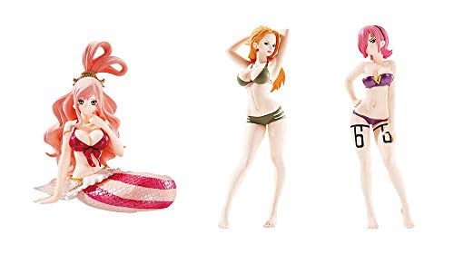 Gashapon One Piece Girls Gasha Portraits 04 Conjunto completo 3 Figuras - KALIFA VINSMOKE y REIJU Original BANDAI