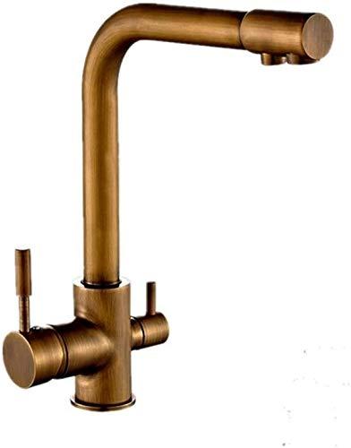 Fashio Grifo de Agua Cocina con Grifo de Tres vías de Tres vías con dispensador de Agua Incorporado para Agua Potable filtrada (Color : Stainless Steel, Size : Stainless Steel)