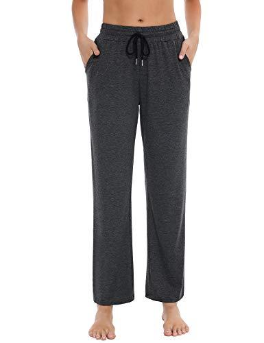 Sykooria Spodnie dresowe damskie duże rozmiary spodnie na co dzień z kieszeniami, damskie proste szerokie nogawki legginsy botcut spodnie sportowe do pilatesu na siłownię jogę bieganie biegacze, 1# ciemnoszara, S
