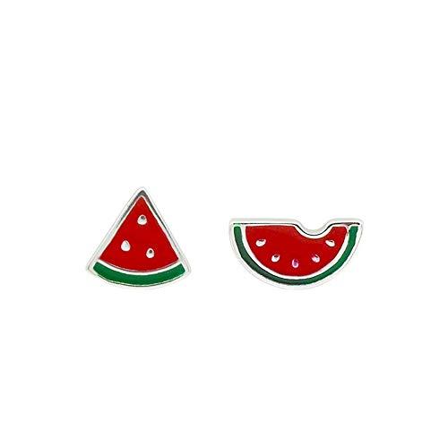 VIWIV Ohrringe S925 Sterling Silber Bonbon-Farbe Wassermelone Ohrringe Persönlichkeit Kreative Frauenmodelle Asymmetrische Ohrringe Modeschmuck