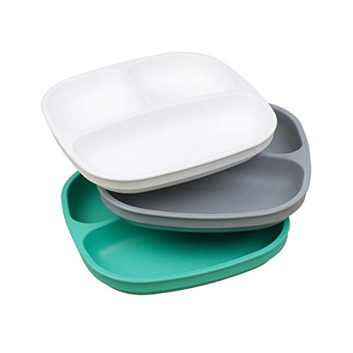 RePlay Made in The USA 3pk Toddler Feeding Divided Plates with Deep Sides for Easy Baby Toddler Child Feeding Aqua/Grey/White