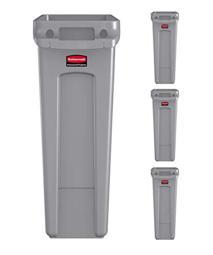 Rubbermaid Commercial Products Slim Jim Trash Can Waste Bin with Venting Channels for...