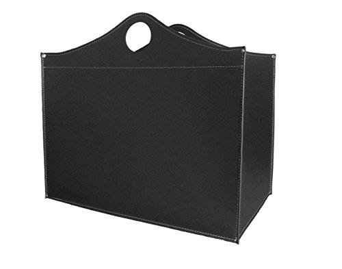 Petit panier spécial Woodbag : panier à bois en cuir de couleur noire, stockage de bois de chauffage, bûches de bois de chauffage, support pour bois de chauffage.