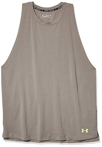 Under Armour Camiseta de Baloncesto de algodón Baseline sin Mangas para Hombre, Hombre, Sin Mangas, 1326707, Gravity Green (388)/Rayos X, S