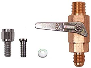 Shutoff Check Valve, 1/4 inch MPT X 1/4 inch MFL, with 1/4 inch and 5/16 inch Barb, Swivel Nut, 1 White Flared Washer nut