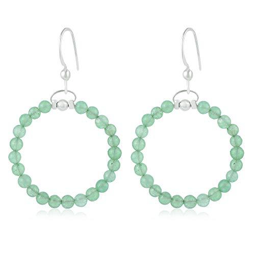 Pendientes de Jade Verde, Pendientes de Jade Delicados, Pendientes de Gema, Pendientes de Jade Verde de la Joyería de la Moda de Jade, Pendientes de Plata 925 con Cuentas de Jade