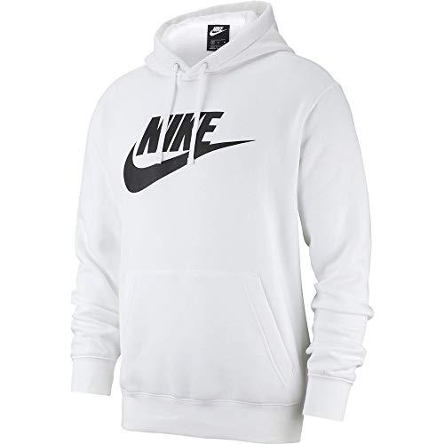 Nike Sportswear Club Fleece, Felpa pullover con cappuccio e grafica Uomo, White/Black, S