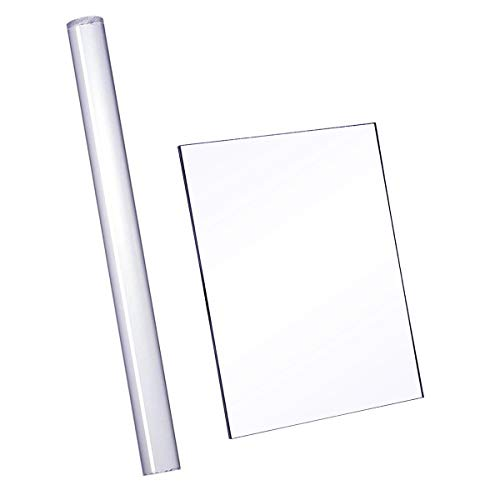 Halovin Hraindrop 2 Pieces Acrylic Clay Roller with Acrylic Sheet Backing Board for Shaping and Sculpting