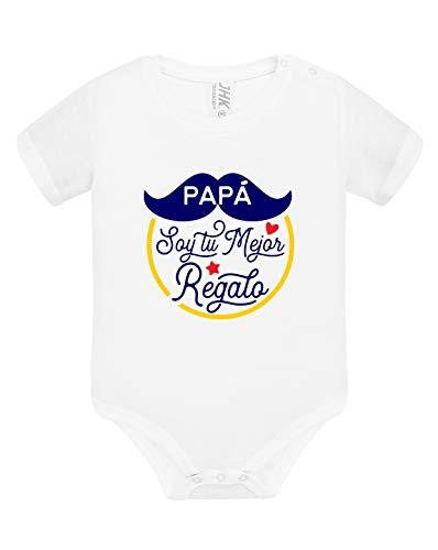 Los Eventos de la Tata. Body de Bebe para Regalar a Papá (6-9 Meses, Modelo Azul)